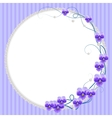 Delicate frame with violet flowers and pearls vector image vector image