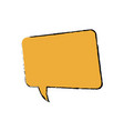 drawing yellow square bubble speech chat talk vector image