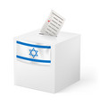 election in israel ballot box with voicing paper vector image vector image