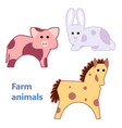 farm animals pig rabbit and horse isolated vector image vector image