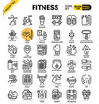 fitness line icon set vector image vector image