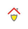 flat design concept of shield guard under roof vector image