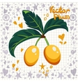 fresh yellow plums with leaves vector image vector image