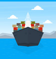 front view cargo ship container maritime vector image
