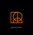geometric shape letter r line monogram vector image vector image