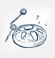 hang sketch line design music instrument vector image vector image