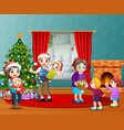 happy family celebration a christmas in the living vector image