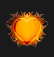 Heart on fire on a dark background vector image vector image