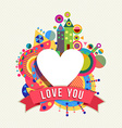 Heart shape icon love concept label with color vector image