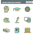 Icons line set premium quality of online education vector image vector image