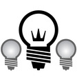 light bulb with crown set vector image vector image