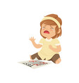 little girl crying about failed test vector image vector image