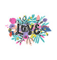 lovely flowers design with lettering