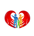 loving family with hands coming together vector image vector image