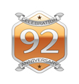 Ninety two years anniversary celebration silver vector image vector image