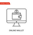 online wallet icon thin line vector image vector image