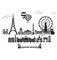 paris city skyline 6 vector image