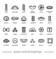 pasta and dumplings icons vector image