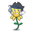 pirate daffodil flower character cartoon vector image vector image