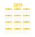 printable calendar 2019 simple template vector image vector image