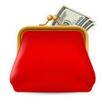 red purse with dollars on white background for vector image vector image