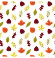 seamless pattern autumn different leaves in flat vector image vector image