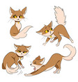 set cartoon cats collection cute red cats vector image vector image