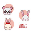 set of cute animals cartoons vector image vector image