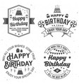 set of happy birthday templates for badge sticker vector image vector image