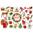 set of merry christmas and new year xmas elements vector image