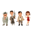 Set person Mafia Don capo soldier prostitute vector image vector image