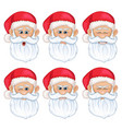 set santa claus face with different emotions vector image vector image