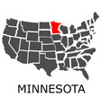state of minnesota on map of usa vector image vector image
