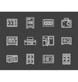 Storage lockers simple white line icons vector image