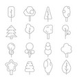 stylized linear trees symbols various vector image vector image