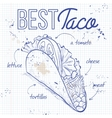 Taco recipe on a notebook page vector image vector image