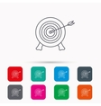 Target with arrow icon Archery aiming sign vector image