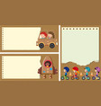 three paper background with kids playing vector image vector image