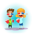 two cartoon kids vector image vector image