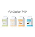 vegetarian milk packs icons set vector image