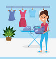 woman on laundry vector image