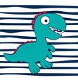 cartoon dinosaur on striped backround vector image
