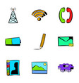 web technology icons set cartoon style vector image