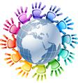 Hands around globe vector image