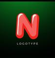 3d playful letter n kids and joy style symbol vector image vector image