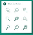 9 magnifier icons vector image vector image