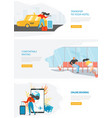 airline travel web service site template vector image vector image