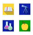 an open book with a bookmark a telescope flasks vector image vector image