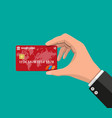 bank card credit card in hand vector image vector image