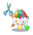 barber character hanging toy attached to cot vector image